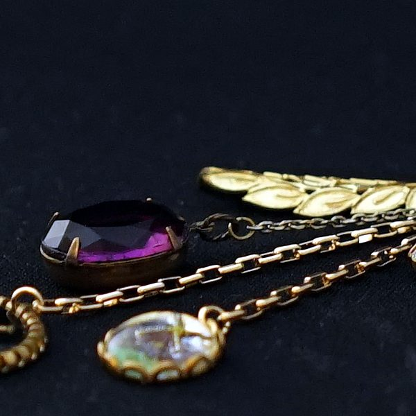 aro-di-lusso original Vintage Beads & Leaf Bagcharm