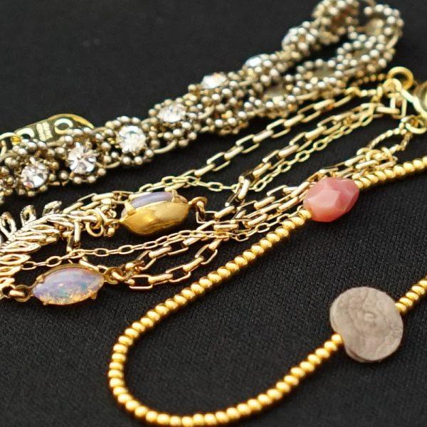 aro-di-lusso original Vintage Beads Leaf Bracelet